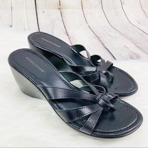 Predictions Black Leather Thong Wedge Sandals